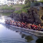 Dragon boaters at Tillicum Narrows