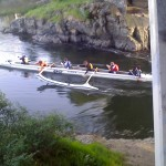 Outrigger canoeists at Tillicum Narrows