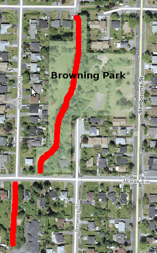 Browning Park with approx. trail location