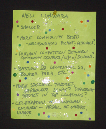 Ideas from board at Luminara visioning. Image Credit: ICA